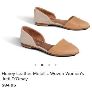 Honey metallic leather jutti d'orsay toms flats